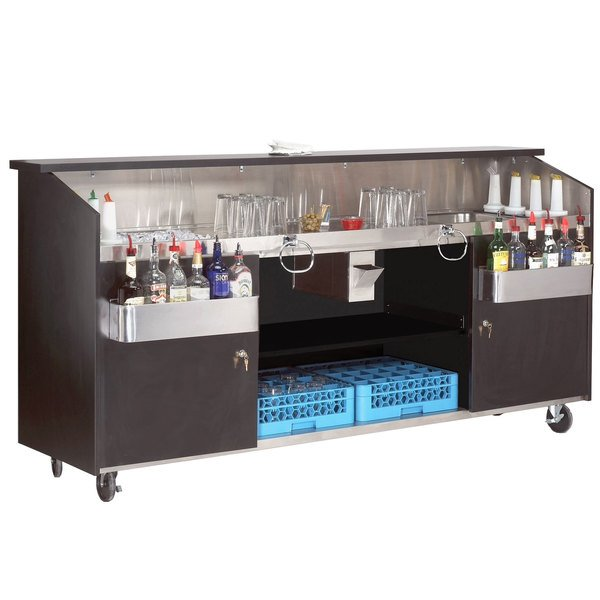 "Advance Tabco R-8-B High Volume Portable Bar with Stainless Steel Work Area - 95 3/4"" x 24 1/2"""