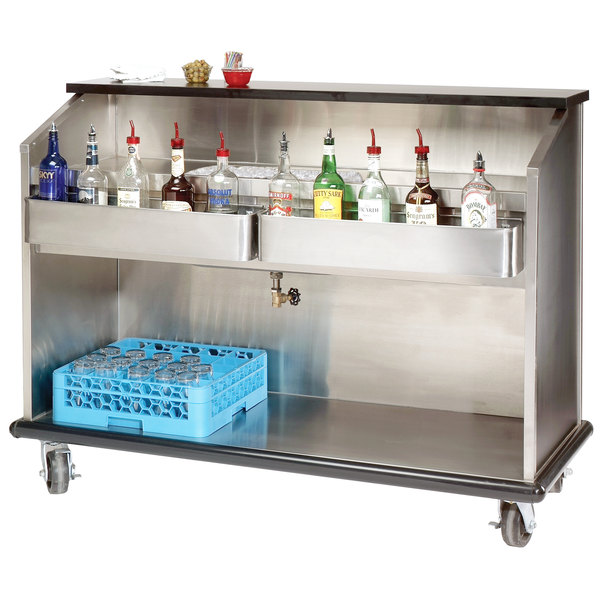 """Advance Tabco AMS-6B 74"""" Heavy-Duty Portable Bar with Stainless Steel Interior"""