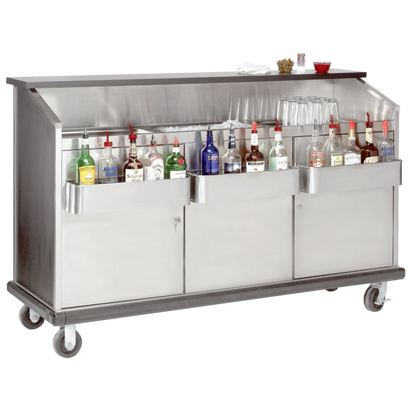 "Advance Tabco AMD-5B 61"" Heavy-Duty Portable Bar with Stainless Steel Doors and Interior"