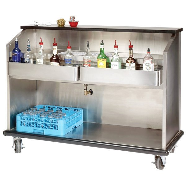"""Advance Tabco AMS-5B 61"""" Heavy-Duty Portable Bar with Stainless Steel Interior"""