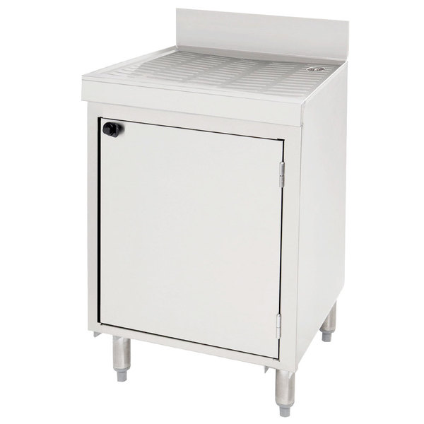 """Advance Tabco CRD-30MD Stainless Steel Drainboard Storage Cabinet with Mid-Shelf and Door - 30"""" x 21"""""""