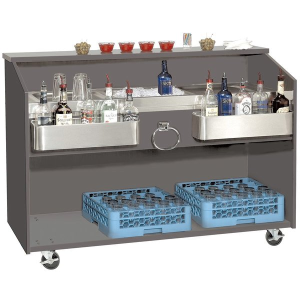 "Advance Tabco D-B Portable Bar with Stainless Steel Work Top - 61"" x 24 1/2"""