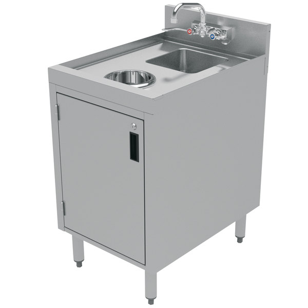 "Advance Tabco CRDW-18 Stainless Steel Cabinet with Dump Sink and Waste Chute - 18"" x 21"""