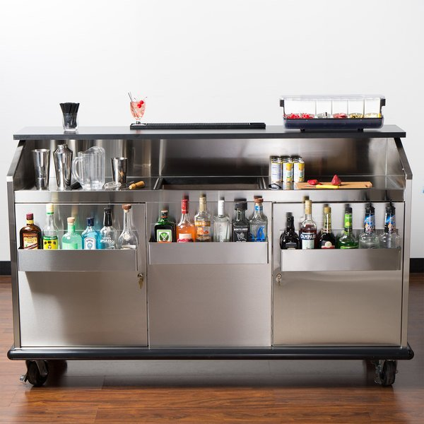 "Advance Tabco AMD-6B 74"" Heavy-Duty Portable Bar with Stainless Steel Doors and Interior Main Image 4"