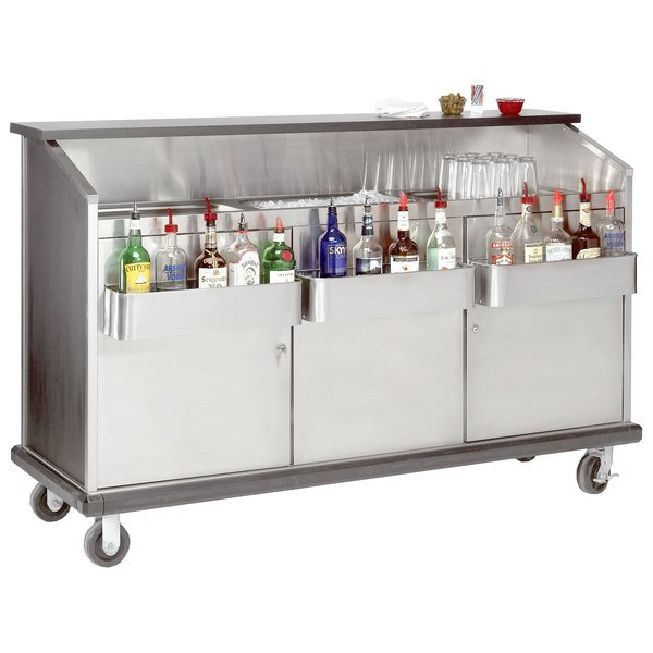 """Advance Tabco AMD-6B 74"""" Heavy-Duty Portable Bar with Stainless Steel Doors and Interior"""