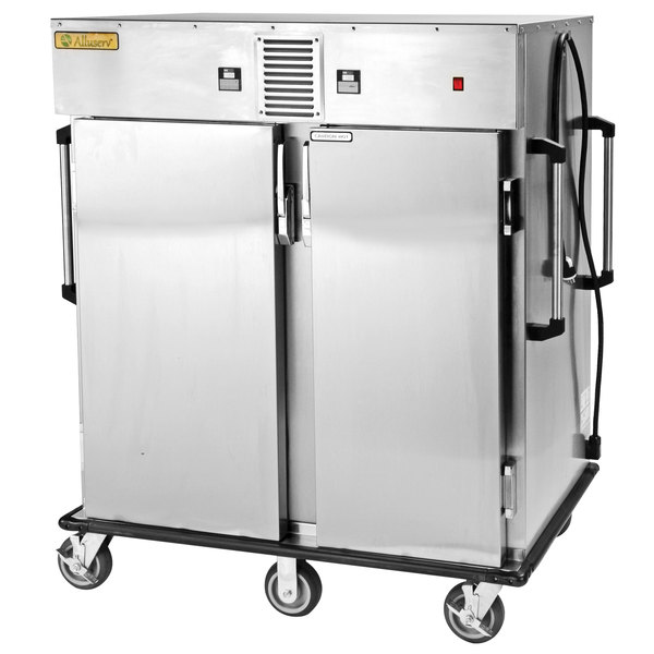 Alluserv AHCTC Stainless Steel 16 Tray Hot / Cold Meal Delivery Cart