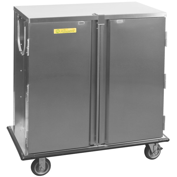 Alluserv TC21-14 Elite Stainless Steel 14 Tray 2 Door Meal Delivery Cart