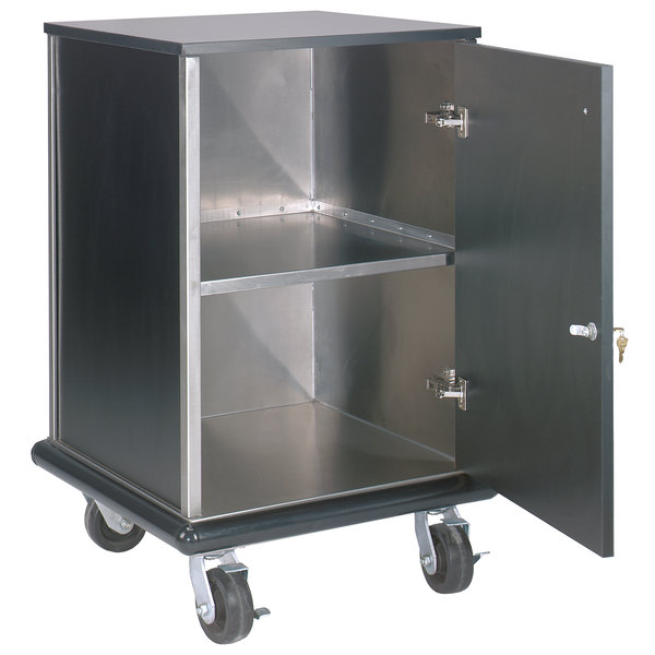 """Advance Tabco AMD-2B Mobile Stainless Steel and Black Locking Cash Register Stand - 24 1/2"""" x 23 1/2"""" x 40 3/4"""""""