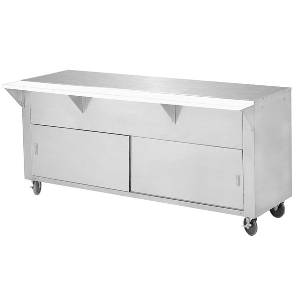 Advance Tabco STU-3-DR Solid Top Stainless Steel Food Table with Cabinet Base and Sliding Doors