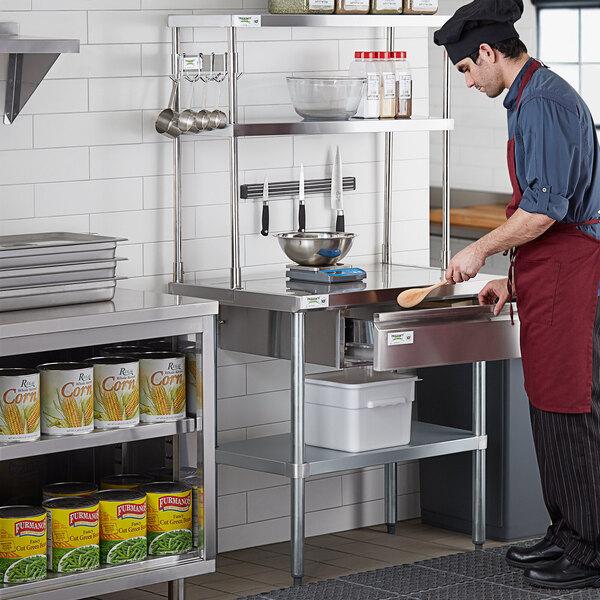 "Regency Stainless Steel Double Deck Overshelf - 12"" x 36"" x 32"" Main Image 5"