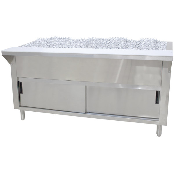 Advance Tabco CPU-4-DR Stainless Steel Ice-Cooled Table with Cabinet Base and Sliding Doors