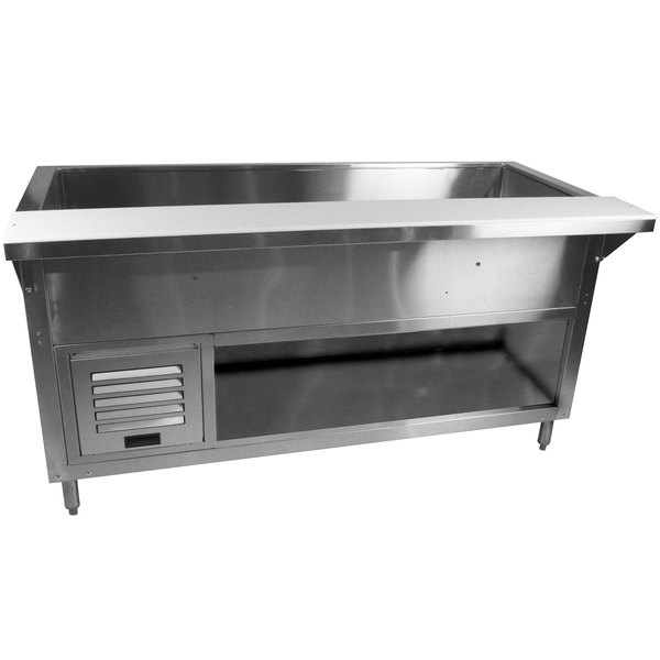 Advance Tabco MACP-4-BS Stainless Steel Mechanically Assisted Refrigerated Cold Pan Table with Enclosed Base