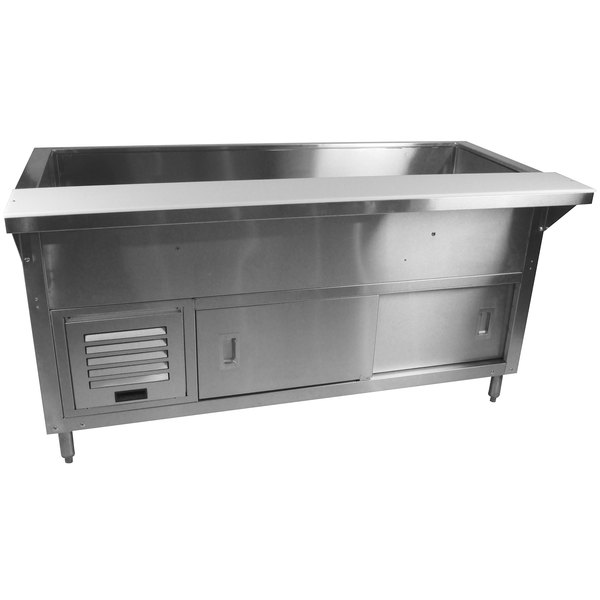 Advance Tabco MACP-4-DR Stainless Steel Mechanically Assisted Refrigerated Cold Pan Table with Enclosed Base and Sliding Doors