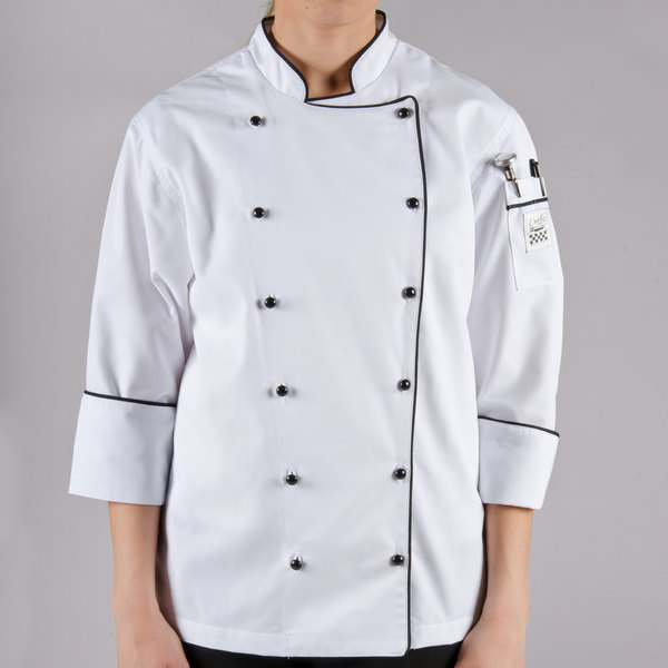 Chef Revival Corporate LJ044 Ladies White Customizable Executive Long Sleeve Coat with Black Piping - L Main Image 1