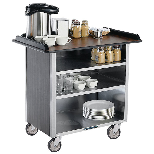"""Lakeside 678 Stainless Steel Beverage Service Cart with 3 Shelves and Walnut Vinyl Finish - 40 3/4"""" x 24"""" x 38 1/4"""""""
