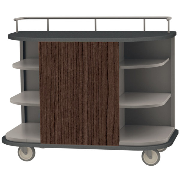 "Lakeside 8715 Stainless Steel Self-Serve Full-Size Hydration Cart with 6 Corner Shelves - 47"" x 26"" x 38"""