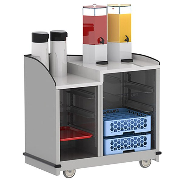 "Lakeside 8706 Stainless Steel Full-Service Hydration Cart with Adjustable Universal Ledges - 44 3/4"" x 25 3/4"" x 42 1/2"""
