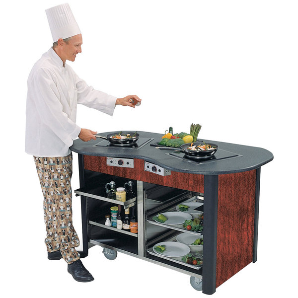 """Lakeside 3070 Creation Station Mobile Stainless Steel Induction Cooking Cart with Red Maple Laminate Finish - 32"""" x 60"""" x 35 3/4"""""""