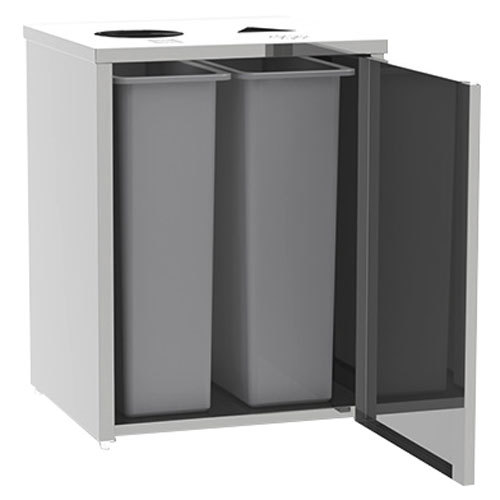 "Lakeside 3312 Stainless Steel Refuse / Recycle Station with Top Access - 26 1/2"" x 23 1/4"" x 34 1/2"""