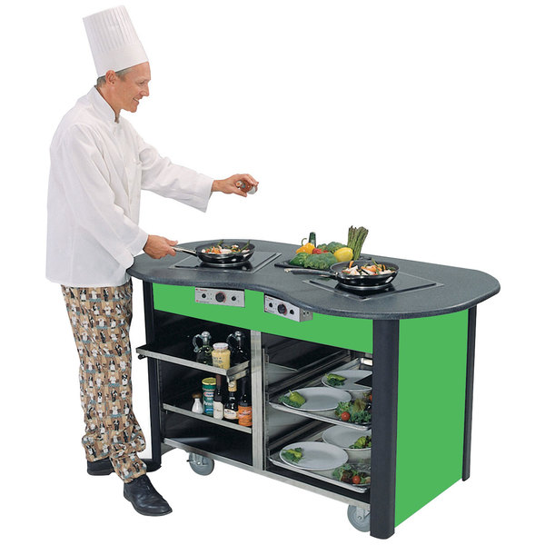 """Lakeside 3070 Creation Station Mobile Stainless Steel Induction Cooking Cart with Green Laminate Finish - 32"""" x 60"""" x 35 3/4"""""""