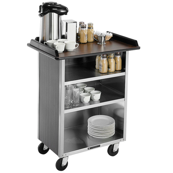 """Lakeside 681 Stainless Steel Beverage Service Cart with 3 Shelves and Walnut Vinyl Finish - 58 3/8"""" x 24"""" x 38 1/4"""""""