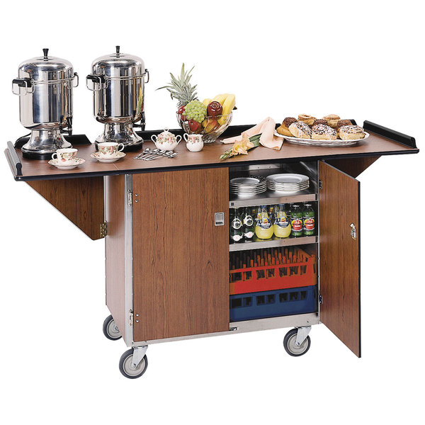 """Lakeside 675 Stainless Steel Drop-Leaf Beverage Service Cart with 3 Shelves and Walnut Vinyl Finish - 44 1/4"""" x 24"""" x 38 1/4"""""""