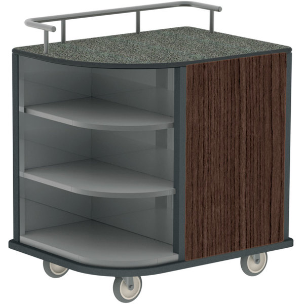 """Lakeside 8713 Stainless Steel Self-Serve Compact Hydration Cart with 3 Corner Shelves - 35"""" x 26"""" x 38"""""""