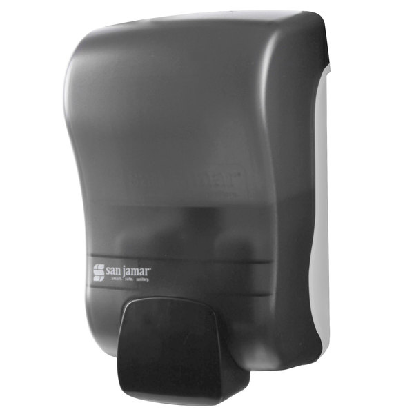 """San Jamar S900TBK Rely Pearl Black Manual Soap, Sanitizer, and Lotion Dispenser - 5"""" x 4"""" x 8 1/2"""""""