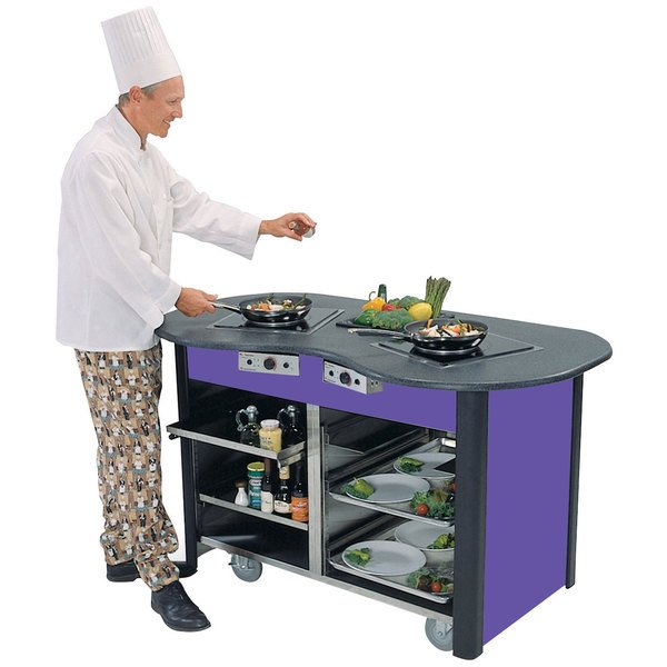 "Lakeside 307010P Creation Station Mobile Stainless Steel Induction Cooking Cart with Purple Laminate Finish - 32"" x 60"" x 35 3/4"""