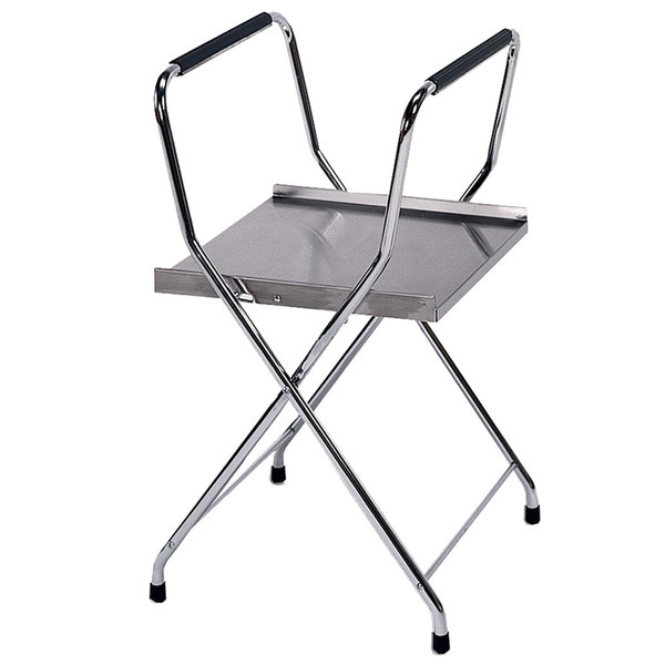 """Lakeside 677 32 1/4"""" Folding Stainless Steel Tray Stand with Chrome Legs"""