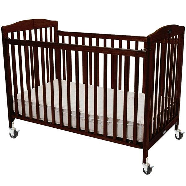"L.A. Baby CS-983-A-C 28"" x 52"" Cherry Wood Folding Crib"