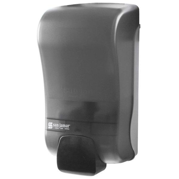 "San Jamar SF1300TBK Rely Pearl Black Manual Foam Soap Dispenser - 5"" x 4"" x 10"""