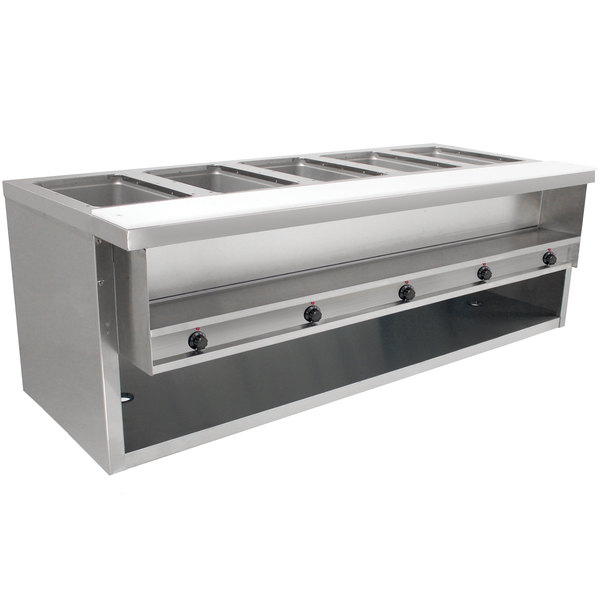 Advance Tabco HDSW-5-240-BS Stainless Steel Heavy-Duty Five Pan Electric Sealed Table with Enclosed Base - 208/240V Main Image 1