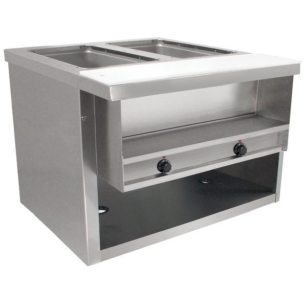 Advance Tabco HDSW-2-120-BS Stainless Steel Heavy-Duty Two Pan Electric Sealed Table with Enclosed Base - 120V Main Image 1
