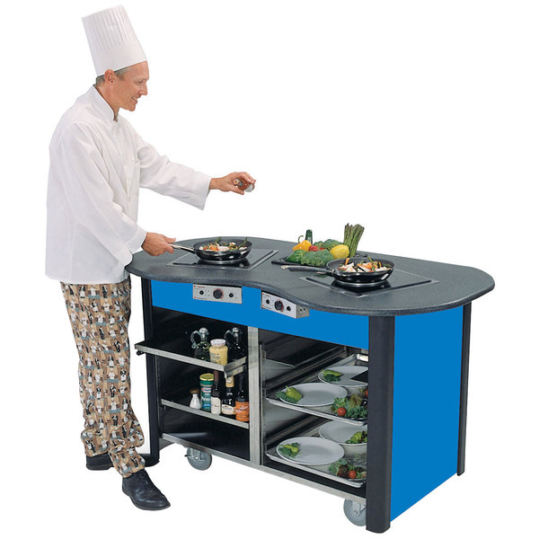 """Lakeside 3070 Creation Station Mobile Stainless Steel Induction Cooking Cart with Royal Blue Laminate Finish - 32"""" x 60"""" x 35 3/4"""""""