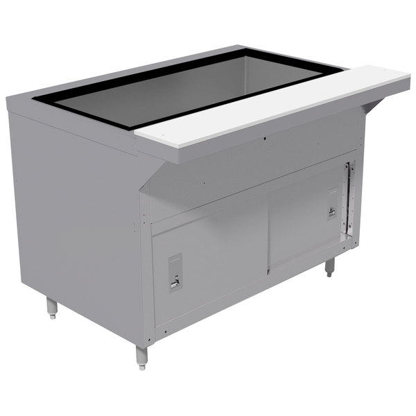 Advance Tabco HDCPU-2-DR Stainless Steel Heavy-Duty Ice-Cooled Table with Enclosed Base and Sliding Doors