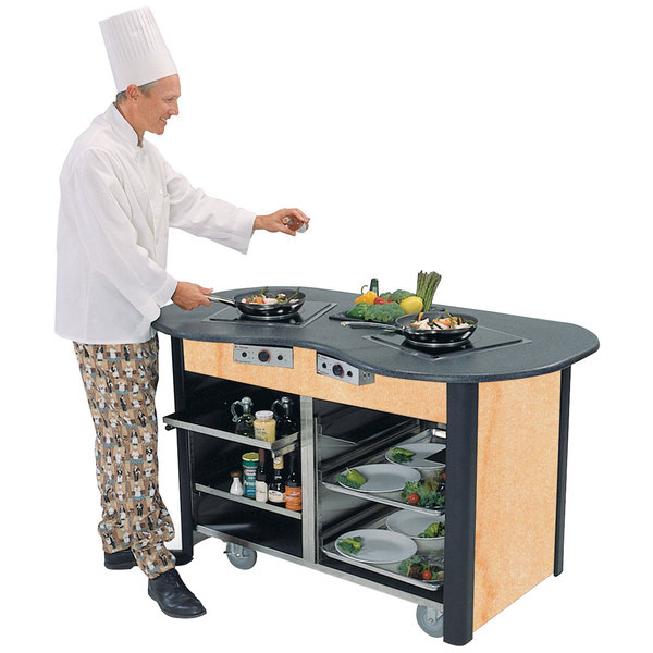"Lakeside 3070 Creation Station Mobile Stainless Steel Induction Cooking Cart with Hard Rock Maple Laminate Finish - 32"" x 60"" x 35 3/4"""