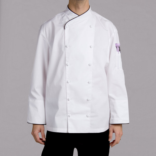 Chef Revival Corporate J008 Unisex White Customizable Executive Long Sleeve Chef Coat with Black Piping - 4X Main Image 1