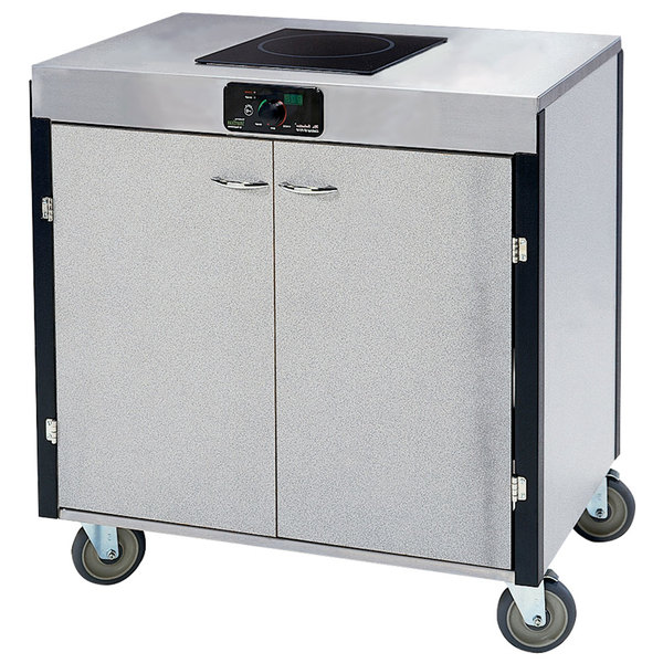 """Lakeside 2060 Creation Express Mobile Stainless Steel Cooking Cart with 1 Induction Burner and No Exhaust Filtration - 22"""" x 34"""" x 35 1/2"""""""