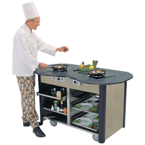 """Lakeside 3070 Creation Station Mobile Stainless Steel Induction Cooking Cart with Beige Suede Laminate Finish - 32"""" x 60"""" x 35 3/4"""""""
