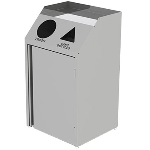 "Lakeside 4312 Stainless Steel Rectangular Refuse / Recycle Station with Front Access - 26 1/2"" x 23 1/4"" x 45 1/2"" Main Image 1"