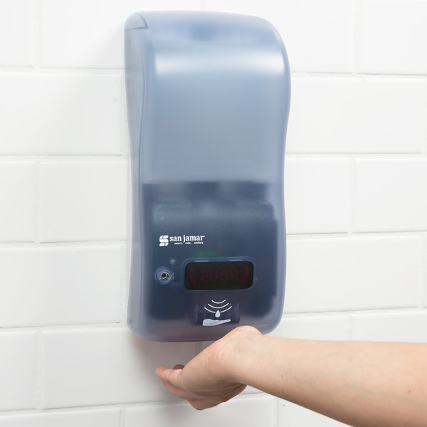 """San Jamar SH900TBL Rely Arctic Blue Hybrid Touchless Soap, Sanitizer, and Lotion Dispenser - 5 1/2"""" x 4"""" x 12"""""""