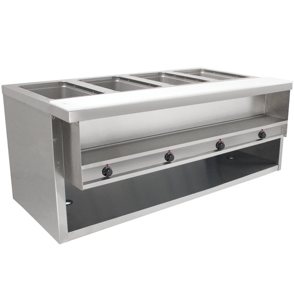 Advance Tabco HDSW-4-120-BS Stainless Steel Heavy-Duty Four Pan Electric Sealed Table with Enclosed Base - 120V Main Image 1