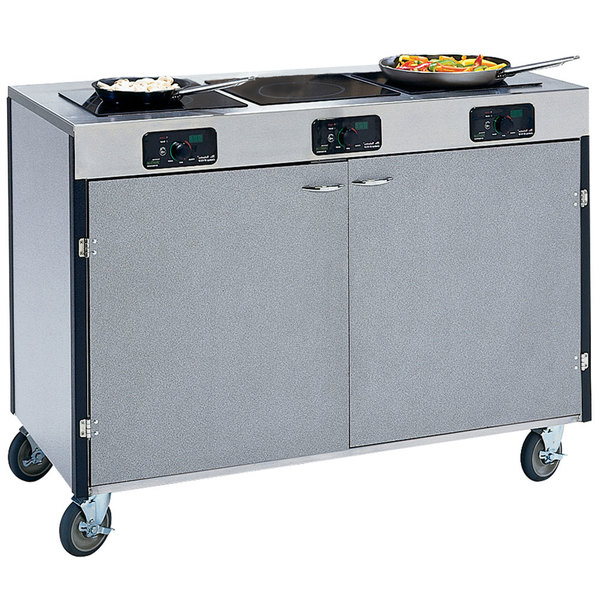 "Lakeside 2080 Creation Express Mobile Stainless Steel Cooking Cart with 3 Induction Burners and No Exhaust Filtration - 22"" x 48"" x 35 1/2"""
