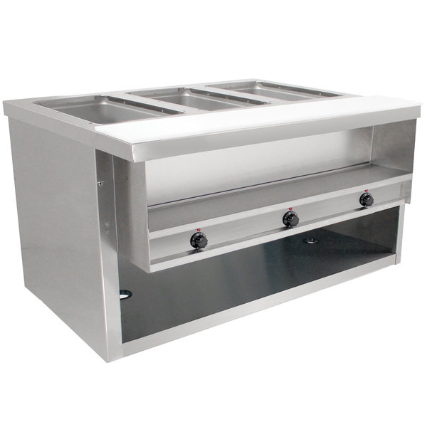 Advance Tabco HDSW-3-120-BS Stainless Steel Heavy-Duty Three Pan Electric Sealed Table with Enclosed Base - 120V Main Image 1