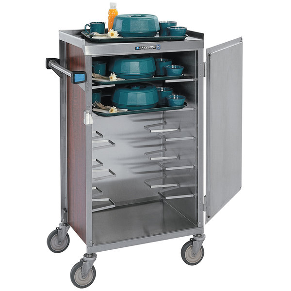 Lakeside 654 Stainless Steel 6 Tray Meal Delivery Cart with Walnut Vinyl Finish