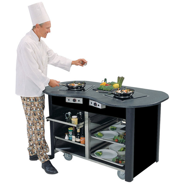 "Lakeside 3070 Creation Station Mobile Stainless Steel Induction Cooking Cart with Black Laminate Finish - 32"" x 60"" x 35 3/4"""