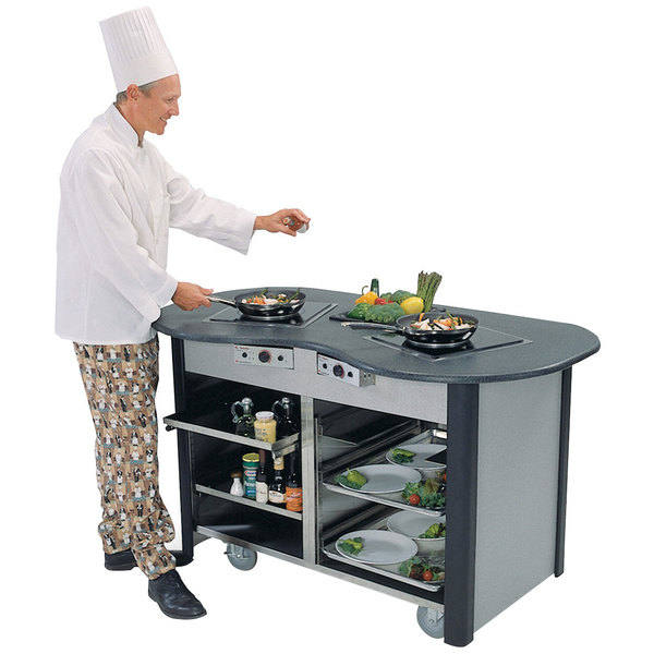 "Lakeside 3070 Creation Station Mobile Stainless Steel Induction Cooking Cart - 32"" x 60"" x 35 3/4"""