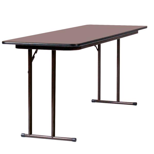 "Correll ST2496PX01 24"" x 96"" Walnut 3/4"" High-Pressure Folding Seminar Table"