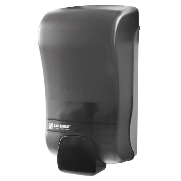 "San Jamar S1300TBK Rely Pearl Black Manual Soap, Sanitizer, and Lotion Dispenser - 5"" x 4"" x 10"""